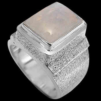 Men's Jewelry - Rainbow Moonstone and .925 Sterling Silver Rings MR20Brm - Rough Finish