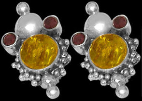 Amber Garnet and .925 Stelring Silver Earrings E310