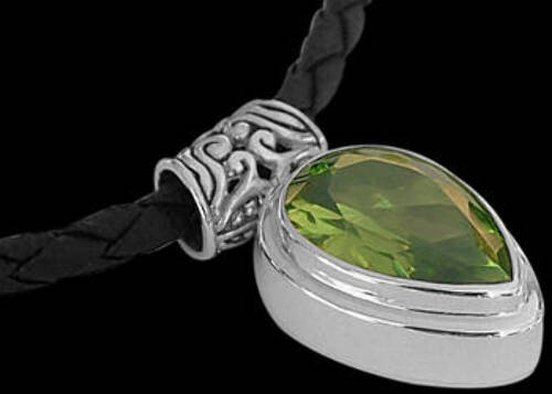 Black Synthetic Leather Necklaces with Faceted Peridot .925 Sterling Silver Pendants NP341 - 3mm