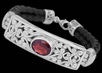 Garnet Synthetic Leather and Sterling Silver Bracelets B710