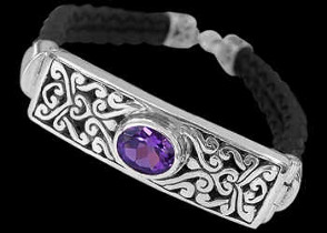 Amethyst Synthetic Leather and Sterling Silver Bracelets B710