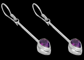Amethyst and Sterling Silver Earrings E380