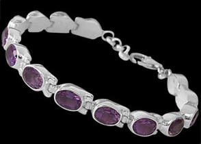 Amethyst and Sterling Silver Bracelets B5