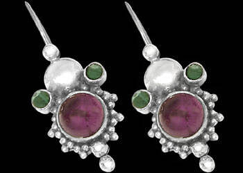 Amethyst Malachite and Sterling Silver Earrings E310