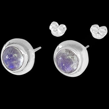 .925 and Gemstone Studs - Rainbow Moonstone and Sterling Silver Earrings ES330