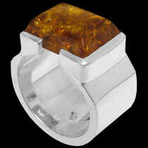 Men's Jewelry - Amber and Sterling Silver Rings R358 - Polish Finish