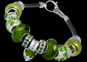 Leather Bracelets - Green Beads  Green Cubic Zirconias and .925 Sterling Silver Beads and Leather bracelet PB120
