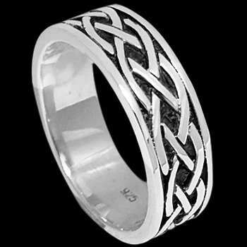 Silver Wedding Bands -  Sterling Silver Woven Celtic Band Rings RI-61111