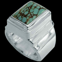 Men's Jewelry - Turquoise and .925 Sterling Silver Rings MR20Btq - Polish Finish