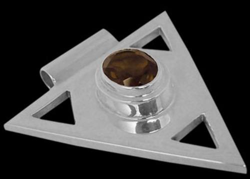 Gemstone Pendants - Smoky Quartz and .925 Sterling Silver Triangle Pendant MP097sq