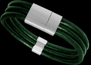 Green Leather and 316L Stainless Steel Bracelets LR12GR