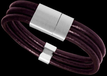 Purple Leather and 316L Stainless Steel Bracelets LR12PUR