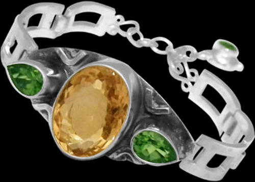 Bridal Jewelry - Faceted Citrine Peridot and Sterling Silver Bracelets MBB01