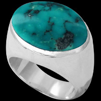 Men's Jewelry - Turquoise and .925 Sterling Silver Ring R752tq