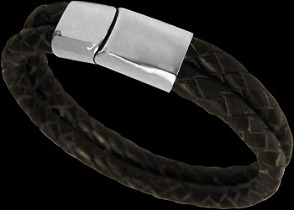Black Leather and 316L Stainless Steel Bracelets VT11BK