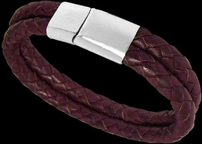 Purple Leather and 316L Stainless Steel Bracelets VT11PUR