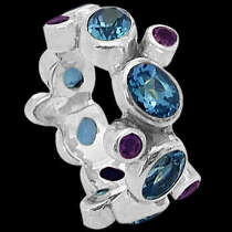 Topaz Amethyst and .925 Sterling Silver Ring R1202