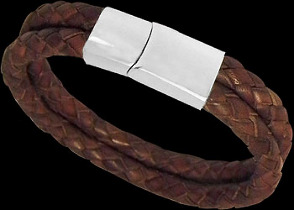 Brown Leather and 316L Stainless Steel Bracelets VT11BR