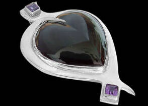 Amethyst Obsidian and Sterling Silver Pendant MP012