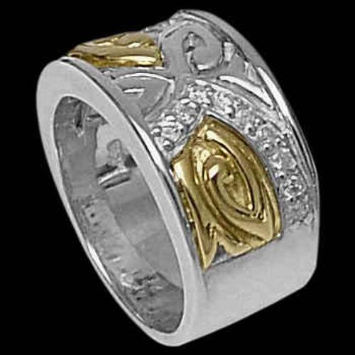 Diamonds, 14K Gold, Sterling Silver Ring R700