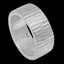 Women's Jewellery - .925 Sterling Silver Thumb Rings R720H - Matt Beaten Finish