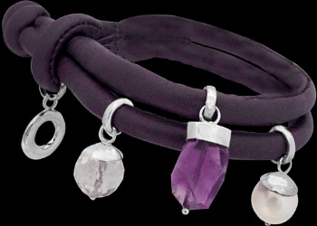 Amethyst Pearl Clear Quartz Silver Beads and Purple Leather Bracelet B1373pur