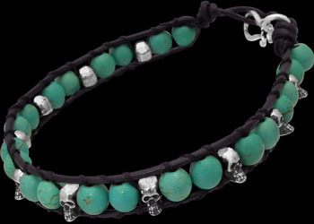 Genuine Black Leather Sterling Silver Skulls and Turquoise Gemstone Beaded Bracelets LBS008