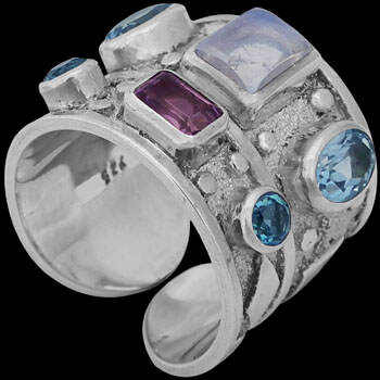 Amethyst topaz Rainbow Moonstone and Sterling Silver Ring R-SN2amy