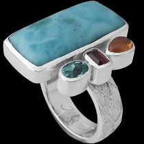 Larimar Spessartite Garnet Garnet Apatite and Sterling Silver Ring MR835lar