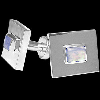 Father's Day Jewelry Gift - Rainbow Moonstone and .925 Sterling Silver Cuff Links AZ501
