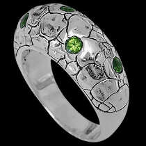 Men's Jewelry - Peridot and .925 Sterling Silver Ring R2152Pe