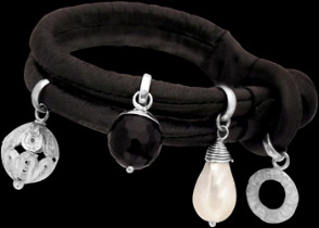 Onyx Pearls .925 Sterling Silver Beads and Black Leather Bracelet B1373blk