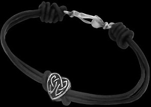 .925 Sterling Silver Celtic Beads and Black Leather Bracelets - Celtic Beads ANIXI104