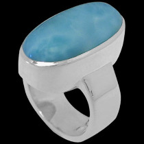 Anniversary Jewelry Gift - Larimar and Sterling Silver Rings R-540