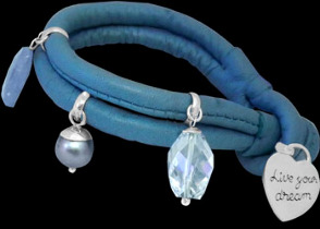 Aquamarine Black Pearl Clear Quartz Silver Beads and Blue Leather Bracelet B1373bl