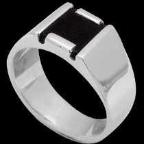Silver Jewelry - Black Onyx and .925 Sterling Silver Rings R939
