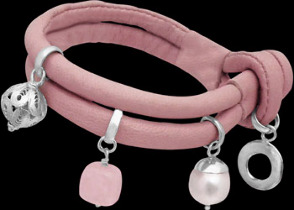Rose Quartz White Pearl .925 Sterling Silver Beads and Pink Leather Bracelet B1373pnk