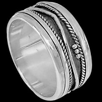Plus Size Jewelry - Sterling Silver Spinning Rings R1-10045L - Plus Sizes
