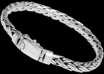 Mens Jewelry - .925 Sterling Silver Bracelets B590A - 7mm - Security Clasp