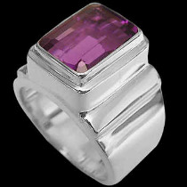 Men's Jewelry - Dark Amethyst and Sterling Silver Rings MR20D - Polished Finish