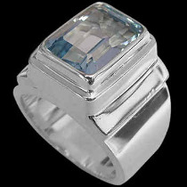 Men's Jewelry - Topaz and .925 Sterling Silver Rings MR20Btp - Polished Finish
