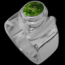Men's Jewelry - Peridot and .925 Sterling Silver Rings MR026pr