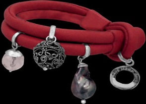 Clear Quartz Black Pearl and .925 Oxidized Sterling Silver Beads and Red Leather Bracelet B1373red