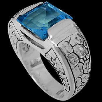 Men's Jewelry - Blue Topaz and .925 Sterling Silver Ring R6276Bt