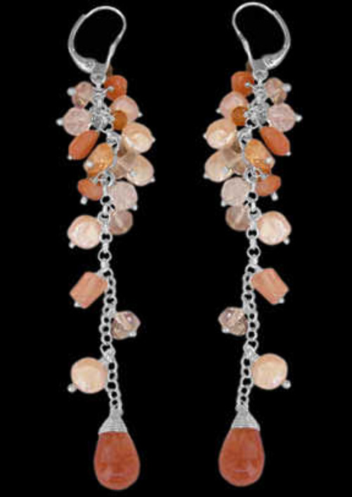 Sand Stone Cherry Quartz Citrine Smokey Quartz Pearl and .925 Sterling Silver Earrings E1155