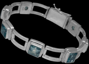 Engagement Jewelry Gift - Topaz and Sterling Silver Bracelets B016a