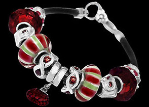 Leather Bracelets - Red Beads  Red Cubic Zirconias and .925 Sterling Silver Beads and Leather bracelet PB07