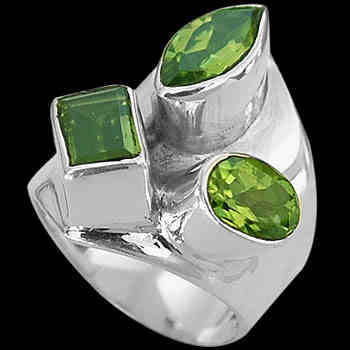 Peridot and Sterling Silver Rings MR03