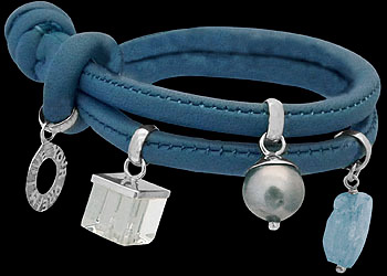 Clear Quartz Black Pearl Aquamarine and .925 Sterling Silver Beads and Blue Leather Bracelet B1373abl