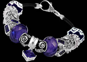 Leather Bracelets - Purple Beads Purple Cubic Zirconias and .925 Sterling Silver Beads and Leather bracelet PB119